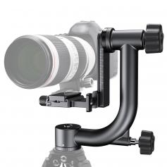 Tripod Head 44lbs Load Professional Heavy Duty 360° Pantilt with 1/4'' Standard Quick Release Plate & Bubble Level