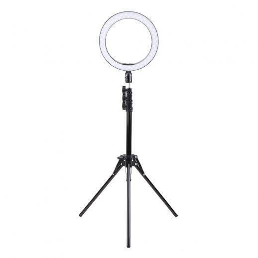 10 inch Ring Light with 58 Inch Stand Flexible Hose Microphone Clip for Vlog Camera Video Smartphone YouTube Self-Portrait Makeup Shooting