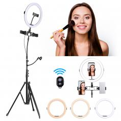 K&F 10 inch Ring Light  3-Light Mode 11-Level Brightness Dimmable LED Ring light with Remote Control Designed