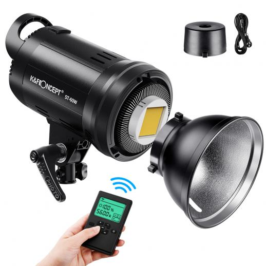 60W Photography Light with Remote Control Dimmable Continuous Lighting with Bowens Mount for Video Recording, Wedding, Outdoor Photography (UK Plug)