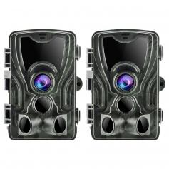 2PCS HC-801A 24MP 1080P Trail Camera 0.5s Trigger Speed Hunting 3 PIR HD Deer Camera Infrared Night Vision Game Camera