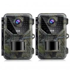 2PCS HB-E2 2.7K 20MP Trail Camera 0.2s Fast Trigger Speed IP66 Waterproof Sturdy Hunting Camera with 120° Wide Flash Range for Wildlife Monitoring