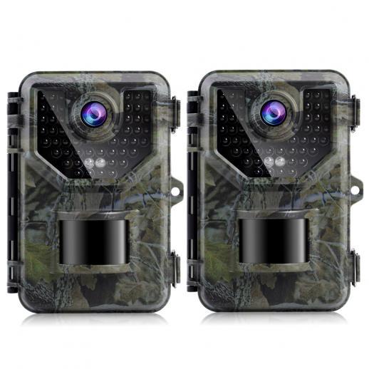 2.7K20MPトレイルカメラ0.2s高速トリガー速度IP66防水頑丈なハンティングカメラ、野生生物の監視用に120°の広いフラッシュ範囲(2個)