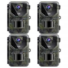 4PCS HB-E2 2.7K 20MP Trail Camera 0.2s Fast Trigger Speed IP66 Waterproof Sturdy Hunting Camera with 120° Wide Flash Range for Wildlife Monitoring