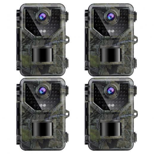 2.7K20MPトレイルカメラ0.2s高速トリガー速度IP66防水頑丈なハンティングカメラ、野生生物の監視用に120°の広いフラッシュ範囲(4個)