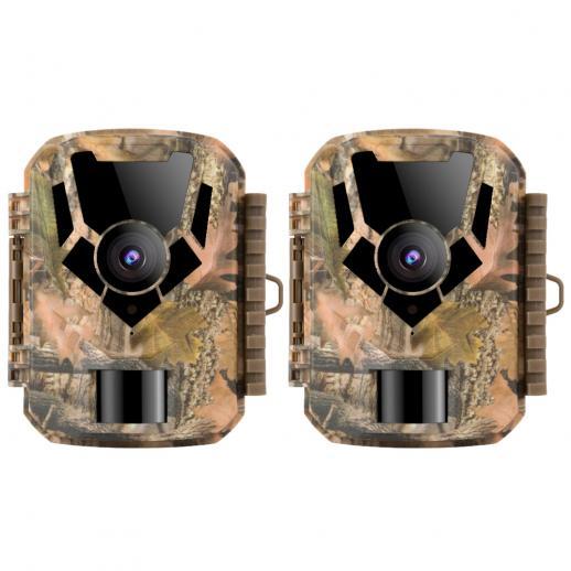 DL201 16MP1080Pトレイルカメラ0.4sトリガータイムHD屋外防水ハンティング赤外線ナイトビジョンミニゲームカメラ(2個)