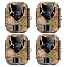DL201 16MP 1080P Trail Camera 0.4s Trigger Time HD Outdoor Waterproof Hunting Infrared Night Vision Mini Game Camera 4PCS
