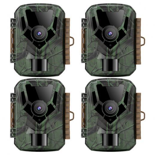 KFKF-301ダークグリーン16MP / 0.4秒スタート、1 PIR HD屋外防水ハンティングおよびハンティング赤外線暗視カメラ公式ウェブサイト販売(4個)