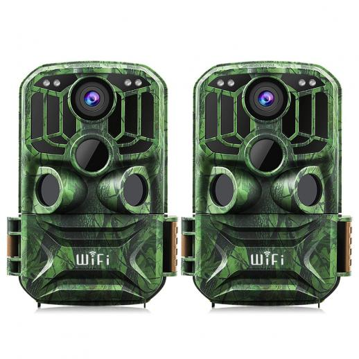 KFKF-401Fダークグリーン500万センサー24MP / 0.4秒開始、3 PIR、WIFI機能を搭載HD屋外防水ハンティングおよびハンティング赤外線暗視カメラ公式ウェブサイト販売(2個)