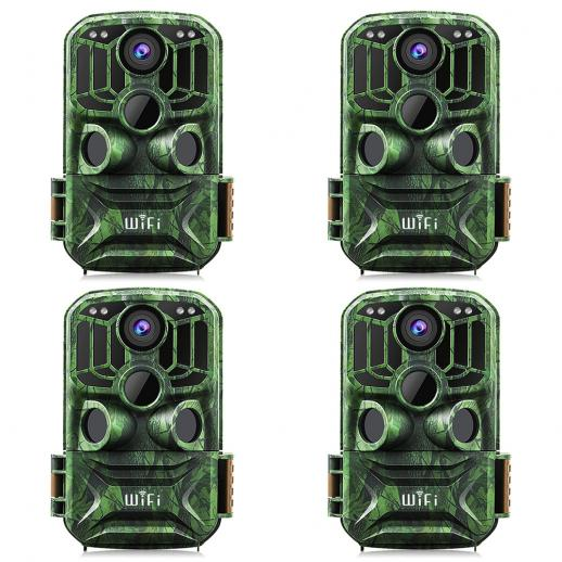 KFKF-401Fダークグリーン500万センサー24MP / 0.4秒開始、3 PIR、WIFI機能HD屋外防水ハンティングおよびハンティング赤外線暗視カメラ公式ウェブサイト販売(4個)