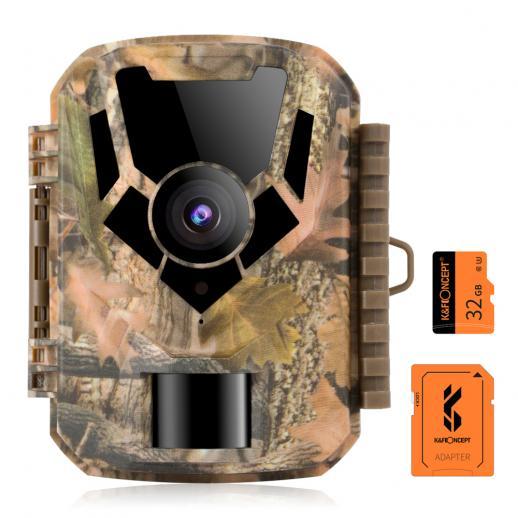 DL201 16MP 1080Pトレイルカメラ(32GB SDカード付き)0.4sトリガータイムHD屋外防水ゲームカメラ赤外線暗視