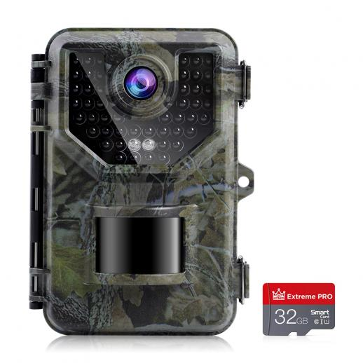 2.7K 20MP Trail Camera 0.2s Fast Trigger Speed IP66 Waterproof Robust Hunting Camera with 120° Wide Flash Range for Wildlife Monitoring + 32GB SD Memory Card