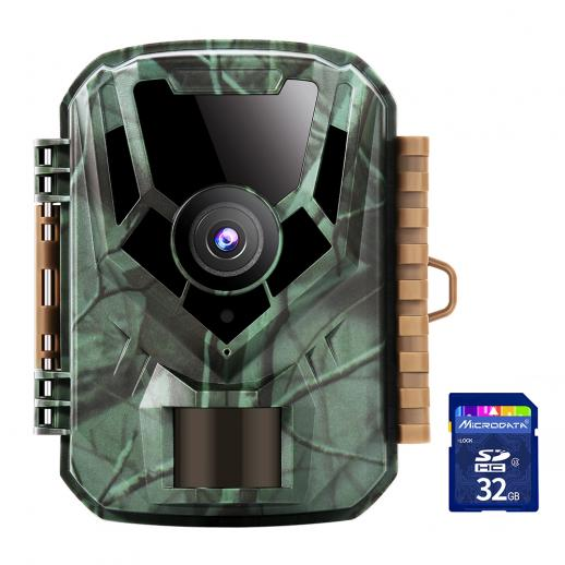 16MP 1080P HD Trail Camera 0.4s Trigger Speed Outdoor Waterproof Hunting Infrared Night Vision Mini Game Camera + SD 32GB Memory Card