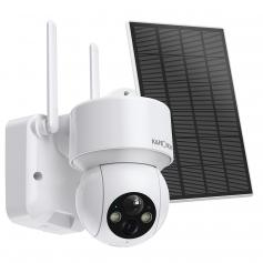 Solar Powered Wireless Security Camera 1080P with Audio & Light Alert Outdoor Home Security Camera Color Night Vision & 14400mAh Built in Battery All White
