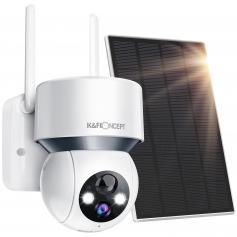 Solar Powered Security Camera PTZ Wireless Outdoor Home 1080P with Audio & Light Alert, Color Night Vision & 14400mAh Built in Battery