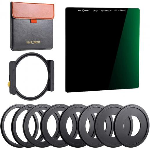 K&F SN25T1 ND1000 Square Filter 100x100mm + Metal Holder + 8pcs Adapter Rings For DSLR