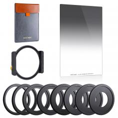 Anti-IR GND8(0.9) Square Lens Filter Kit 100x150mm Soft Graduated ND Filter Set (3 Stop) with Metal Filter Holder & 8 Filter Adapter Rings