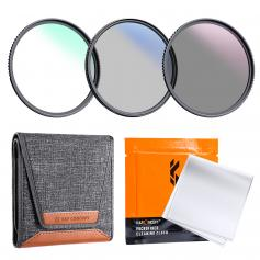 K&F Concept 58mm 3pcs Slim Lens Filter Kit (MCUV + CPL + ND4) + Lens Cleaning Pen + Filter Pouch