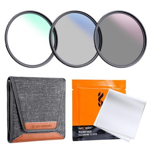 K&F Concept 67mm 3pcsスリムレンズフィルターキット(MCUV + CPL + ND4)+レンズクリーニングペン+フィルターポーチ