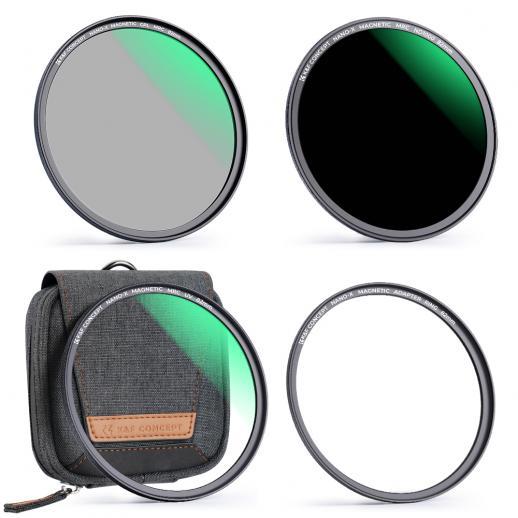 Filtro magnético 49mm MCUV + CPL + ND1000, filme verde à prova d'água, resistente a arranhões, anti-reflexo, com anel de fixação magnético e bolsa estojo