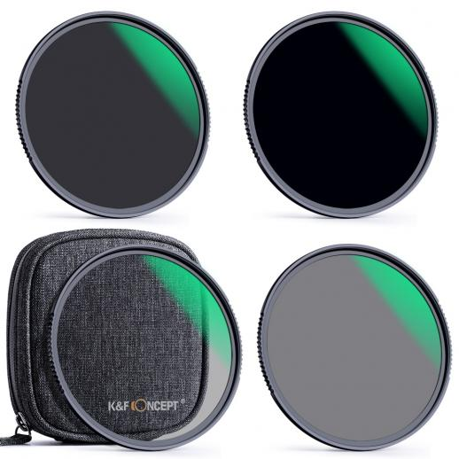 77mm Lens Filter Kit Neutral Density ND4 ND8 ND64 ND1000 Filter Set with 18 Layers Multi-Coated HD Optical Glass and 4-Filter Pouch