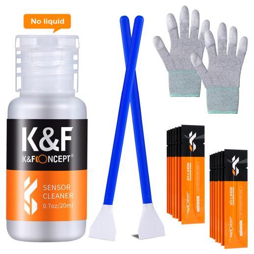 KF CK02 Conjunto de bastão de limpeza formato APS-C 16mm (bastão de limpeza 16PCS + Frasco de líquido de limpeza + luvas de borracha sem pó de palma revestidas com PU)