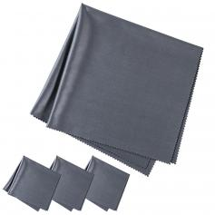 K&F CONCEPT Cleaning cloth set needle one dust-free cleaning dry cloth for Electronics, dark gray, 4 pieces, 40.6*40.6cm , opp bag packaging