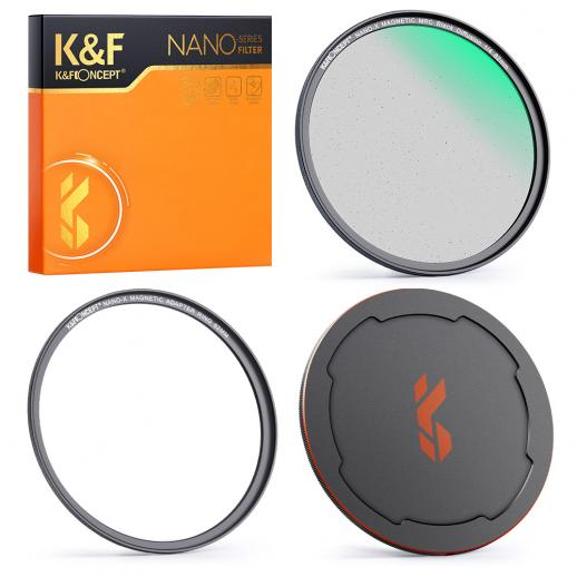 58MM NANO-X-1/4黒色軟磁性吸引フィルター 高解像度 防水性 耐傷性 反射防止グリーンフィルムでコーティング、磁気アタッチメントリングと磁性金属上部カバー付き