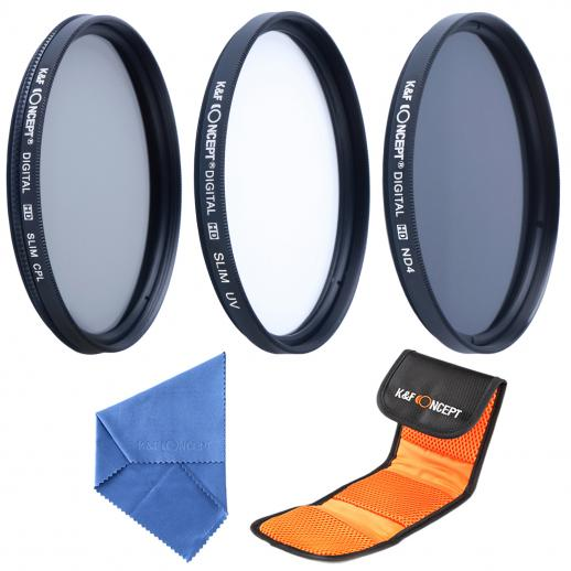 77mm UV, CPL, ND4 Filtro Kit