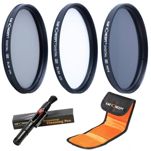 40.5mm UV CPL ND4 Neutral Density Len Accessory Filter Compatible with Canon Nikon DSLR Camera + Cleaning Pen + Flower Petal Lens Hood + Center Pinch Lens Cap +Filter Pouch