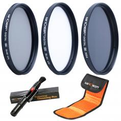 77mm Lens Filter Kit Neutral Density ND4+UV+Circular Polarizing (CPL) Lens Filter with Cleaning Pen & Filter Pouch for DSLR Cameras