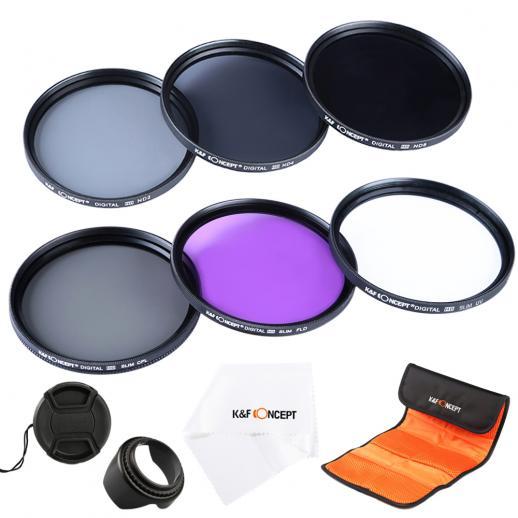 52mmフィルターキット(UV+CPL+FLD+ND2 ND4 ND8)+クリーニングクロス+花形レンズフード+レンズキャップ+ポーチ