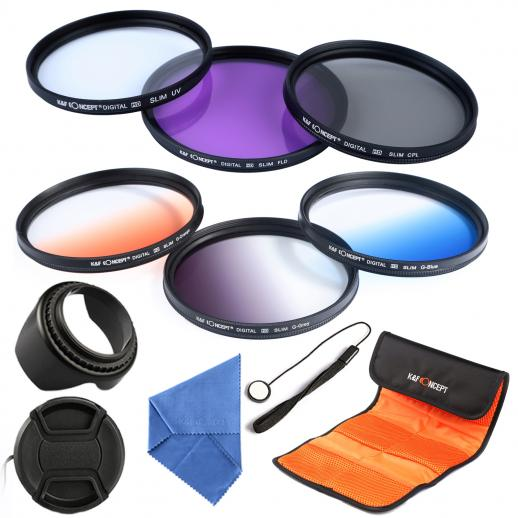 58mm UV, CPL, FLD, Graduado Azul, Laranja, Cinza Filtro Kit
