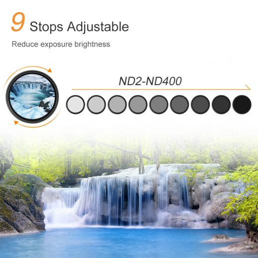 49mm ND2 to ND400 Variable Neutral Density ND Filter