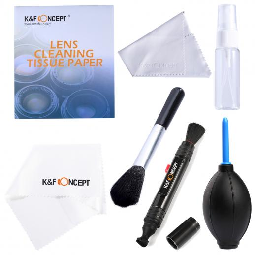 Kit de Limpeza 7 em 1:Soprador de Poeira de Lente + Caneta de Limpeza + 2X Pano de Limpeza + Garrafa + Papel de Limpeza + Pincel para Lente