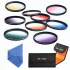 62mm Filter Set (Graduated Orange, Blue, Grey, Red, Purple, Green, Pink, Brown, Yellow)