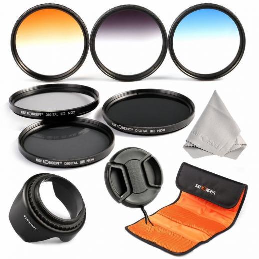 58mm Filter Set (ND2, ND4, ND8, Graduated Blue, Orange, Grey)