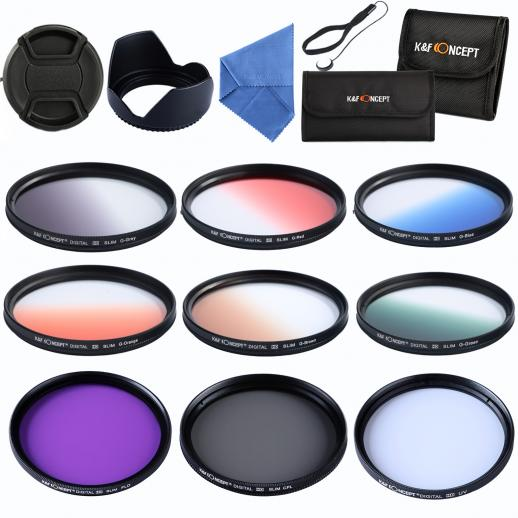 58mm Filter Set (UV, CPL, FLD, Graduated Blue, Orange, Grey, Red, Green, Brown)