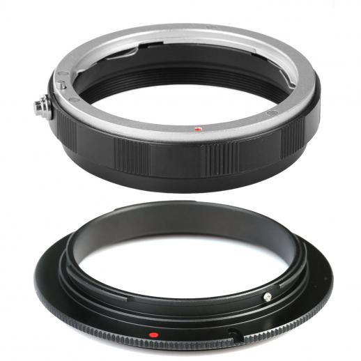 58mm Macro Reverse Adapter Ring + Lens Mount Protection Ring for Canon EOS