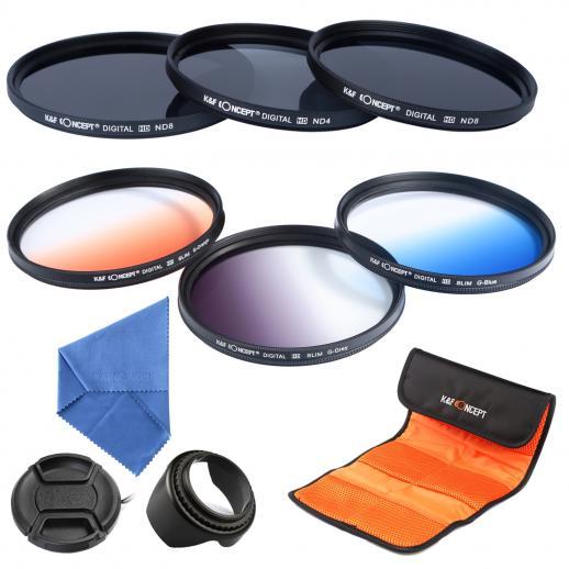 62mm Filtro Kit ND2, ND4, ND8, Azul Graduado, Laranja, Cinza