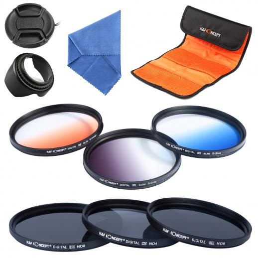 67mm Filtro Kit ND2, ND4, ND8, Azul Graduado, Laranja, Cinza