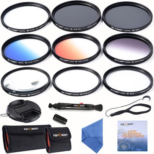 58mm Filter Set (UV, CPL, ND4, Graduated Orange, Blue, Grey, Close up +4 +10, Star 6)