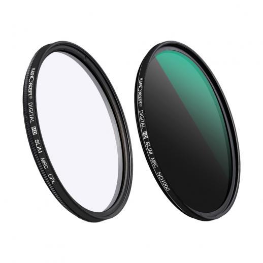 Kit 2 filtros ND1000 fixo (10 Stops) + Polarizador circular, diâmetro 72mm