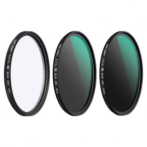 Kit 3 filtros ND8 (3 Stops) + ND64 (6 stops) + Polarizador circular HD, diâmetro 62mm