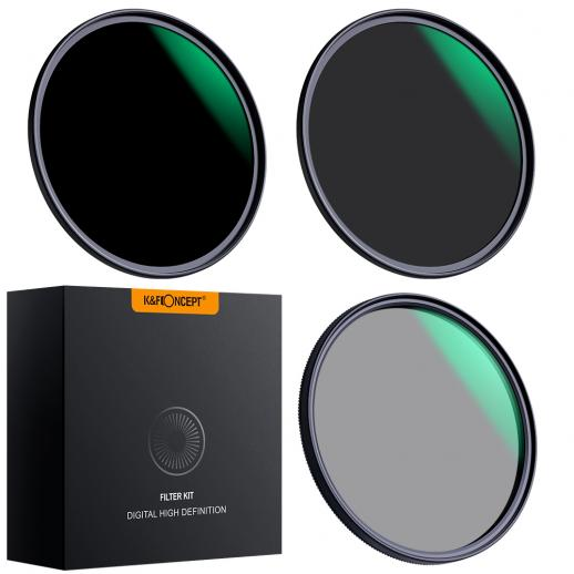 Kit 3 filtros ND8 (3 Stops) + ND64 (6 stops) + Polarizador circular HD, diâmetro 82mm