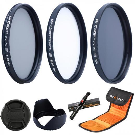 43mm UV CPL ND4 Filtro de acessórios para lenços de densidade neutra Compatível com Câmera Canon Nikon DSLR + Caneta de limpeza + Capa para lente de pétala de flor + Tampa da lente de pitada central + Bolsa para filtro